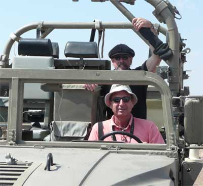 Shlomo and David in an Israeli armored vehicle
