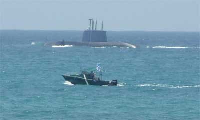 Israeli sub and support boat