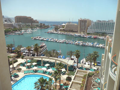 The view from our hotel window in Eilat. We are looking southeast, into Saudi Arabia