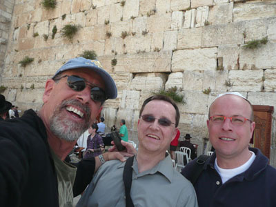 David, Tom and Stephan at the Western Wall in Jerusalem