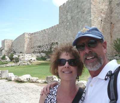 Carol and David near the gates of the Old City of Jerusalem
