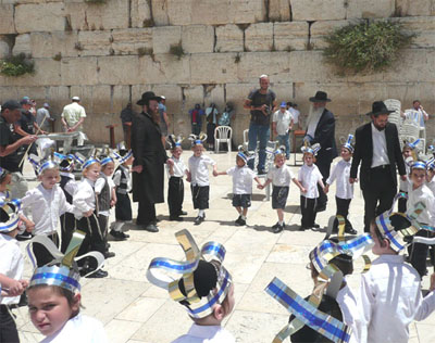 Rabbis and children at the Western Wall