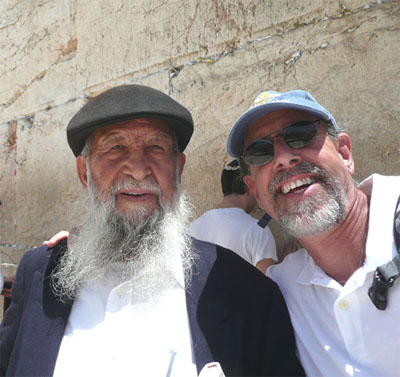 David with a rabbi at the Western Wall