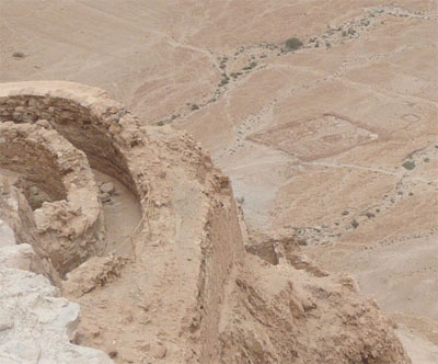 Looking down from the top of Masada - notice the outline of the Roman encampment