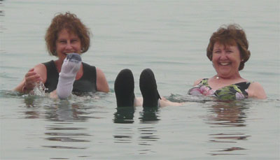 Carol and Susan floating in the Dead Sea