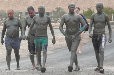 A group who just enjoyed the mud baths