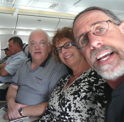 Yoav, Carol and David on our El Al flight from Tel Aviv to Paris