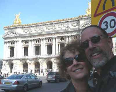 Carol and David in front of Le Palais Garnier, the Opera Nationale de Paris
