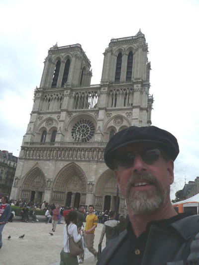 David with the glorious Gothic Lady, Notre Dame, in the background