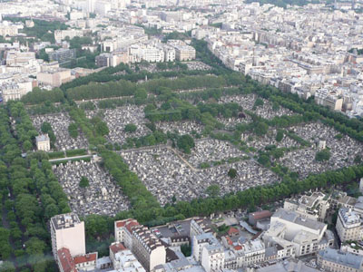 The Montparnasse cemetery from the tall Tour Montaparnasse