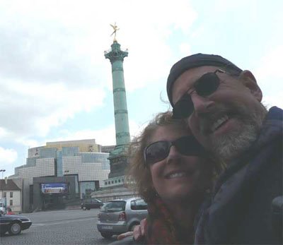 Carol and David with the Bastille memorial and the new opera house in the background