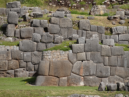 Ancient Inca stones high above Cuzco