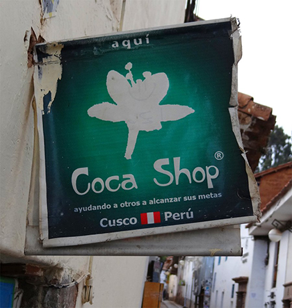 Shop selling coca leaves in Cuzco