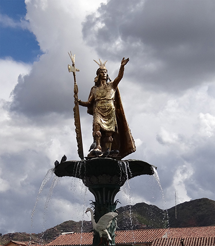 Statue at Plaza de Armas in Cuzco