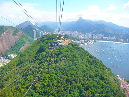 View from the cable car as we head up Sugarloaf Mountain