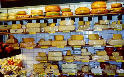 Many varieties of cheeses...