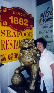 Carol at an old restaurant in Chinatown