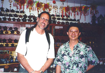 David and Gabriel Hsie at the Jade Spring Tea Shop
