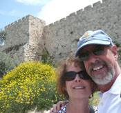 Carol and David and the ancient wall surrounding Old Jerusalem