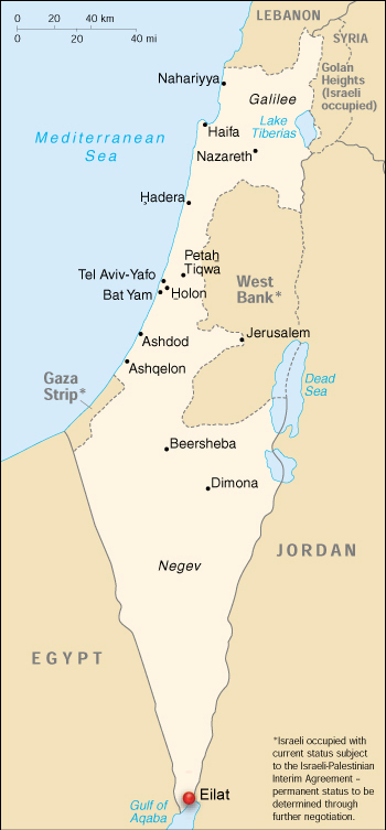 Eilat on a map of Israel