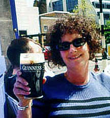 Carol enjoying Guinness at the Sea Horse