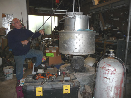 Bruce Fink in his studio/foundry/magician's lair