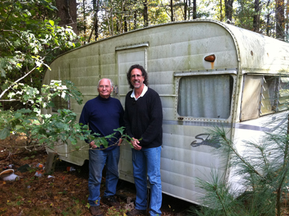 Bruce and David at brother Jim's trailer in the woods on Pole Bridge Road