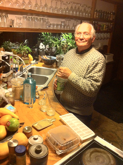 Bruce in his kitchen on Pole Bridge Road, mixing up his special Gin and Tonics for the three of us