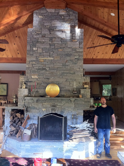 Charlie showing us a massive, incredibly engineered stone fireplace that he designed and built
