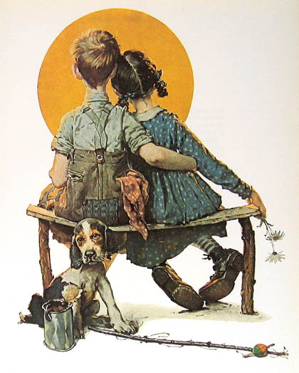 """First Love"" by Norman Rockwell"