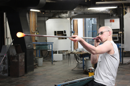 Glass blowing at Simon Pearce in Woodstock, Vermont