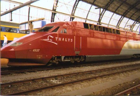 The high-speed Thalys train that took us from Paris to Amsterdam