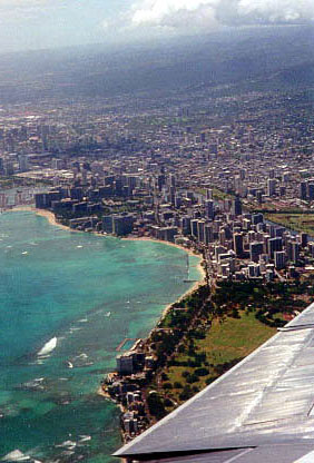 View of Waikiki from the plane on our way home